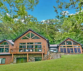 multipl homes adjoined by a 4 seasons enclosed porch, luxury estate, luxury vacation rental, luxury vacation rentals on Canandaigua Lake,.
