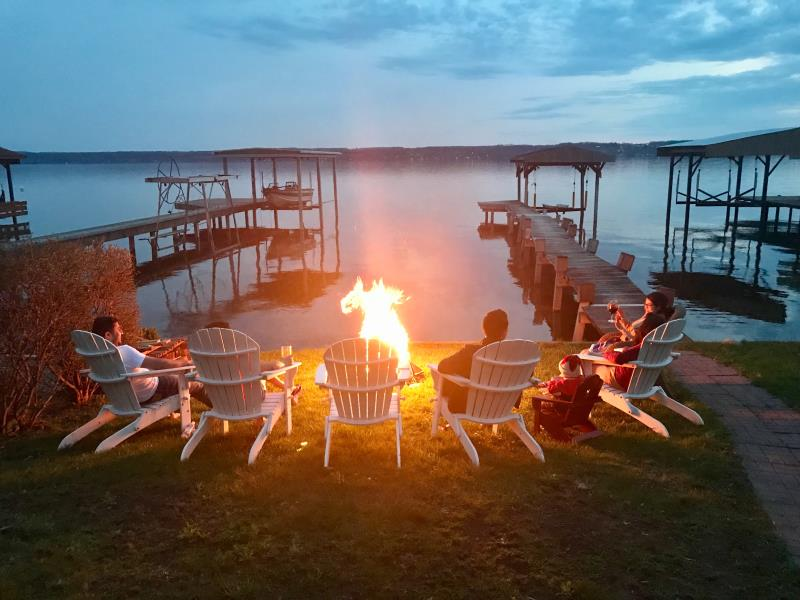 Seneca Lake vacation rental campfire